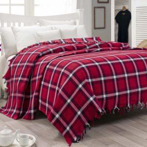 Bavlněný kostičkovaný přehoz na postel