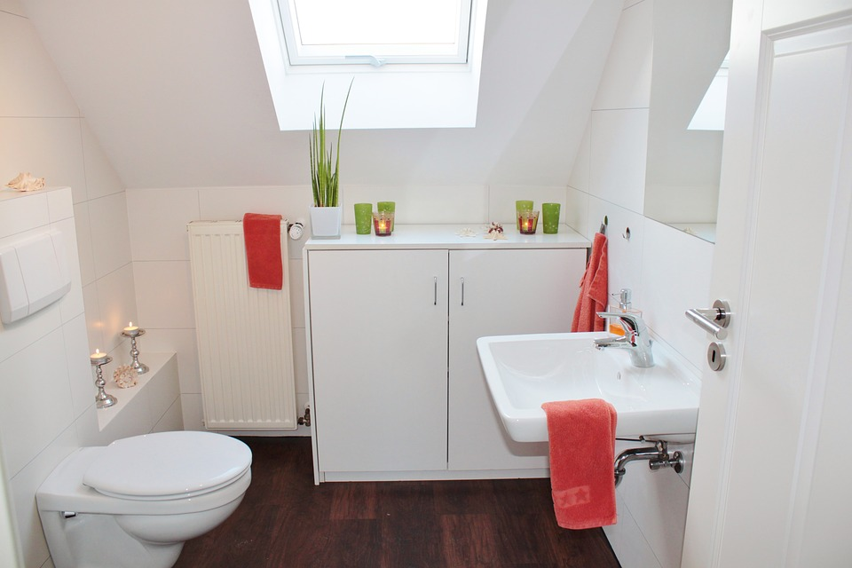 Koupelna s umyvadlem a toaletou